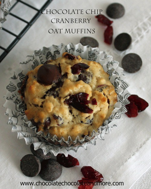 Chocolate Chip Cranberry Oat Muffins-Bittersweet chocolate and tart Cranberries make for a tasty muffin!