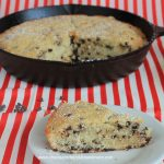 Chocolate Chip Skillet Butter Cake-no frosting needed for this this simple cake! A light vanilla flavor with little bursts of chocolate in every bite!