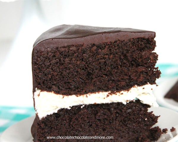 Ding Dong Cake-rich devil's food cake, a vanilla cream filling and smothered in chocolate ganache!