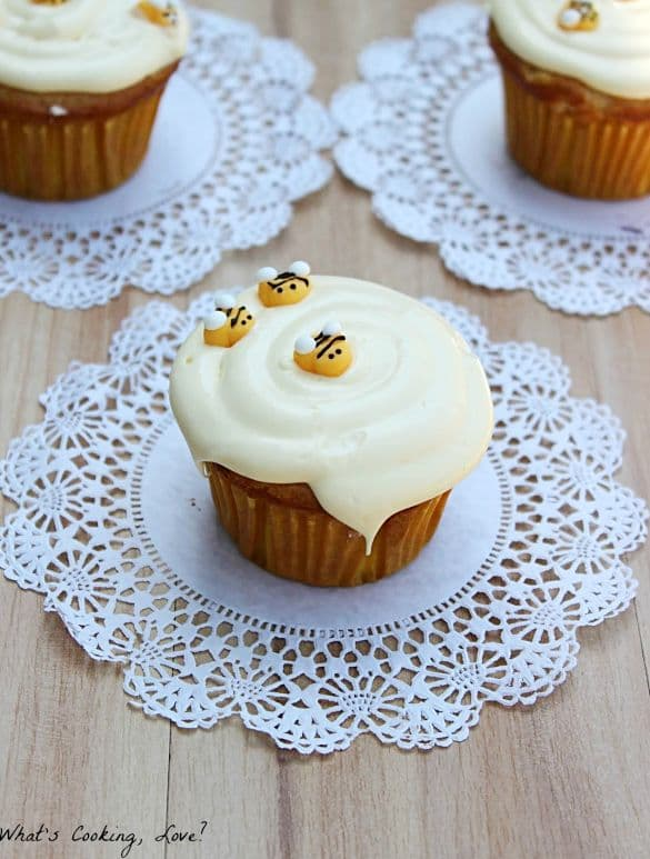 50 Very Vanilla Recipes: Honey Vanilla Cupcakes with Honey Buttercream Frosting