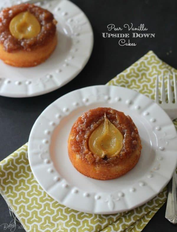 50 Very Vanilla Recipes: Pear Vanilla Upside Down Cakes