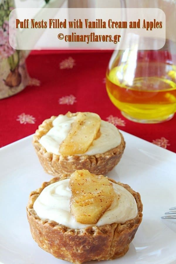 50 Very Vanilla Recipes: Puffy Nests filled with Vanilla Cream and Apples