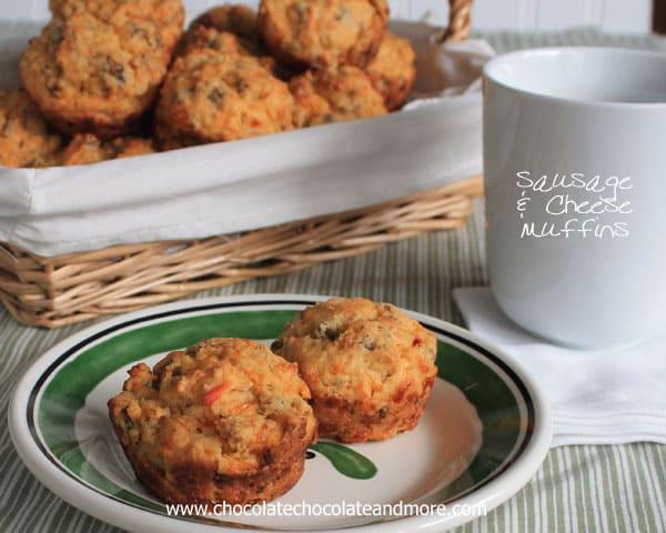 Sausage Cheese Muffins-perfect for a quick, on the go, breakfast!