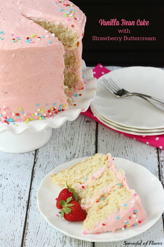 50 Very Vanilla Recipes: Vanilla Bean Cake with Strawberry Buttercream