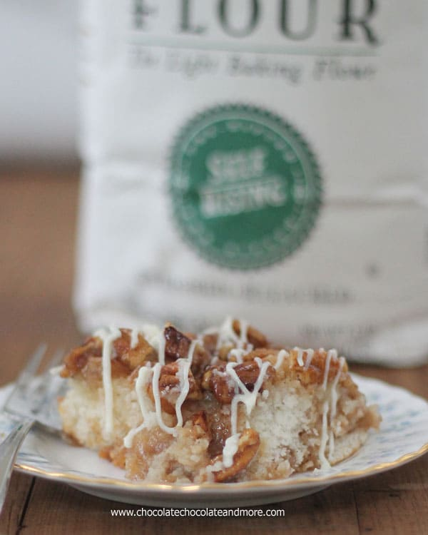 Caramel Pecan Biscuit Bake-Just a few minutes to prepare, a biscuit base topped with a caramel pecan topping and a cream cheese icing! #SavetheBiscuit