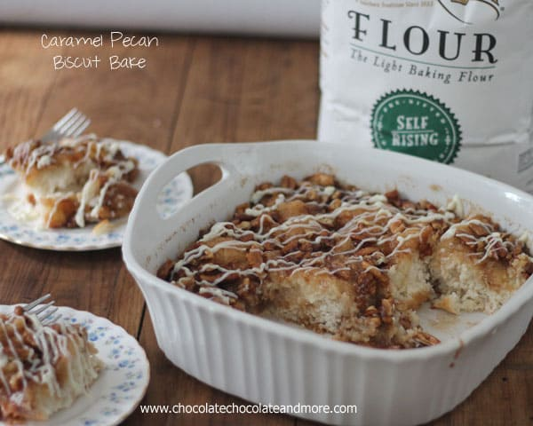Caramel Pecan Biscuit Bake-Just a few minutes to prepare, a biscuit base topped with a caramel pecan topping and a cream cheese icing!
