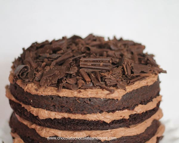 Death by Chocolate Devils Food Cake topped with Chocolate Curls