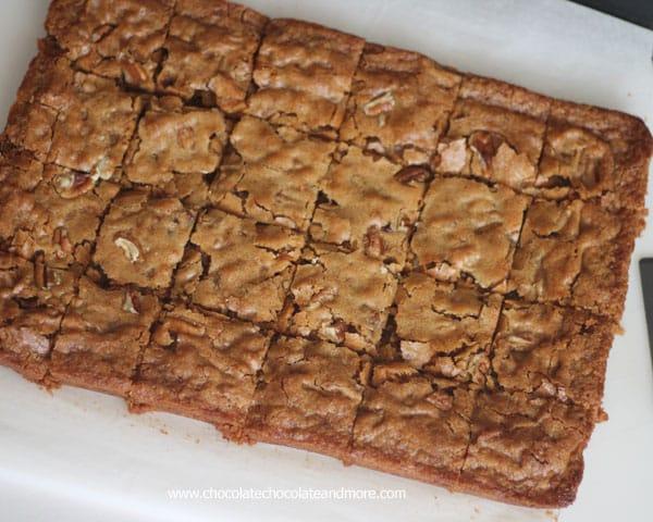 Pecan Praline Blondies - Chocolate Chocolate and More!