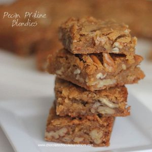 Pecan Praline Blondies-these bars are full of rich vanilla flavor and lots of pecans!