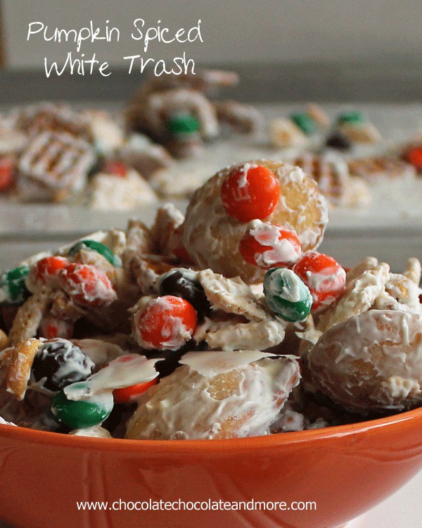 Pumpkin Spiced White Trash-a great way to clean out the snack cabinet! (oh and Pumpkin Spiced M&Ms-awesome!)