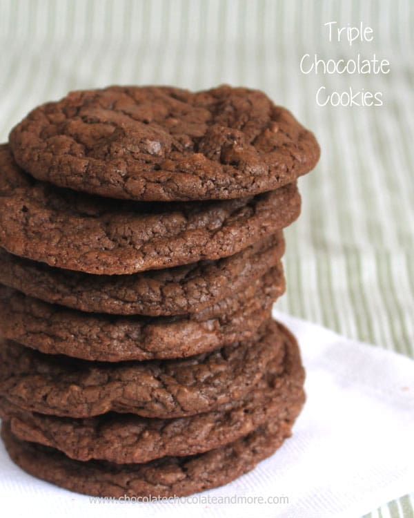 Triple Chocolate Cookies-Cocoa Powder, Semi-sweet Chocolate and Milk Chocolate team up making these cookies irresistibly Chocolatey! Crisp on the outside, chewy on the inside!