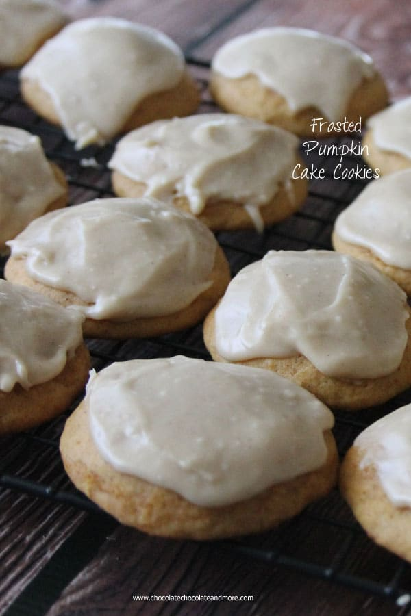 Frosted pumpkin Cake Cookies-made from scratch, the perfect pumpkin flavor with a cake like texture and a rich caramel frosting!
