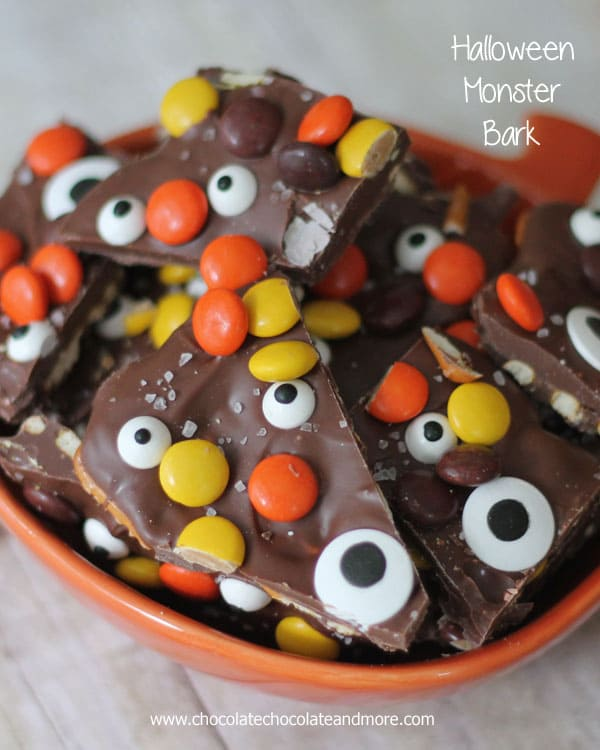 Salter Halloween Bark-chocolate, pretzels, reese pieces and candy eyes!