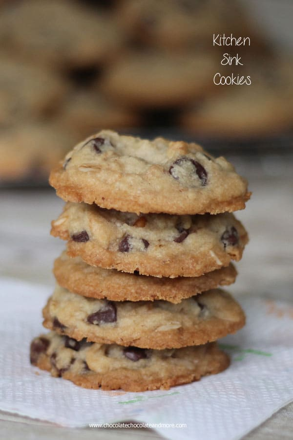 Kitchen Sink Cookies-a crisp cookie filled with oatmeal, coconut, pecans, crushed cereal, chocolate and anything else you have in your baking cabinet!
