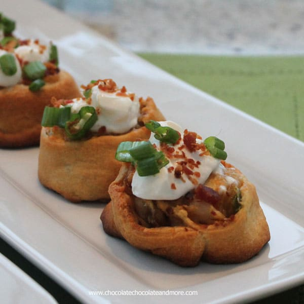Loaded Potato Pinwheels-start with crescent dough then filled with potato, bacon and cheese, an easy tasty appetizer!