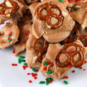 Fudgy Eggnog Pretzel Bark-Recipegirl