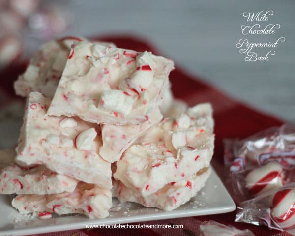 White Chocolate Peppermint Bark-just 2 ingredients, makes a great gift for the Holidays!