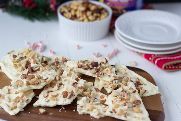 White Chococlate Peppermint Nut Bark-Blahnik Baker