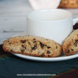 Chocolate Chip Cookie Biscotti-crisp vanilla cookie with bursts of mini chocolate chips throughout then for an extra indulgence served with a White Chocolate dipping sauce!