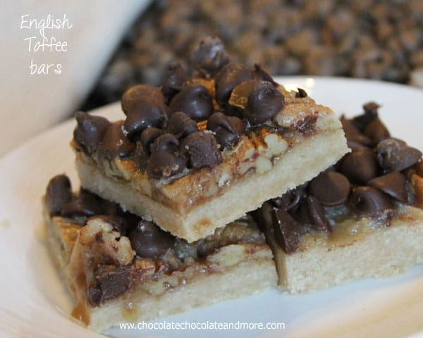 English Toffee Bars-Simple shortbread crust covered with pecans, a buttery toffee and loaded with chocolate chips on top!