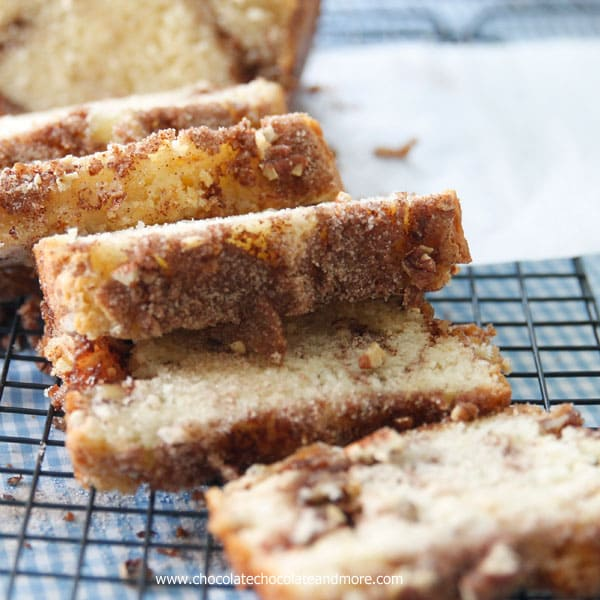 Cinnamon Swirl Quick Bread filled with cinnamon sugar and pecans, for an easy breakfast treat or snack.
