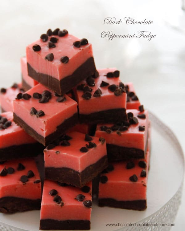 Dark Chocolate Peppermint Fudge-rich dark chocolate pairs perfectly with a pretty pink layer of peppermint fudge for a tasty treat. And the pink color is just so pretty!