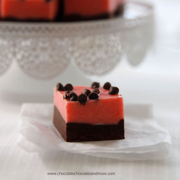 Dark Chocolate Peppermint Fudge-rich dark chocolate pairs perfectly with a pretty pink layer of peppermint fudge for a tasty treat.