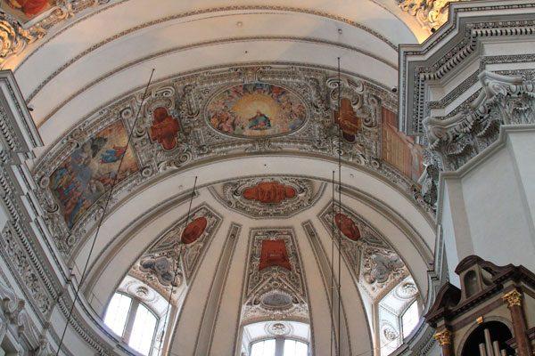 Salzburg Cathedral ceiling in Salzburg, Austria