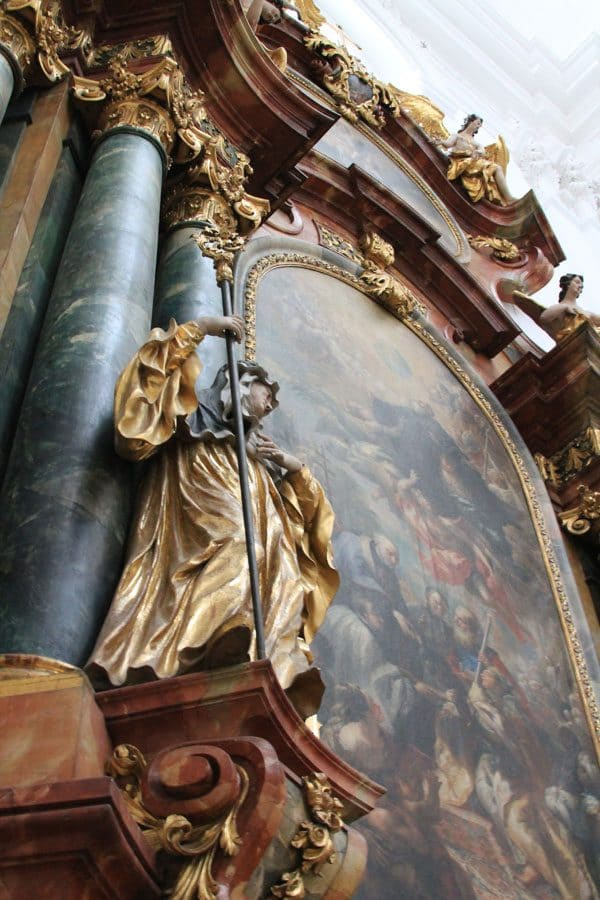 Mural and golden sculpture in Salzburg Cathedral