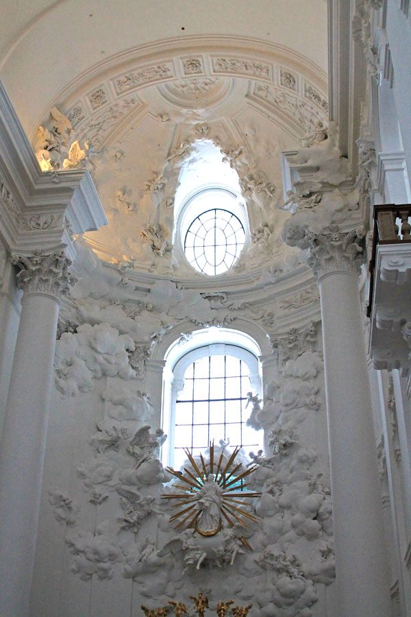 Front Alter in Kollegienkirche Church, Salzburg, Austria, known as the all white church.