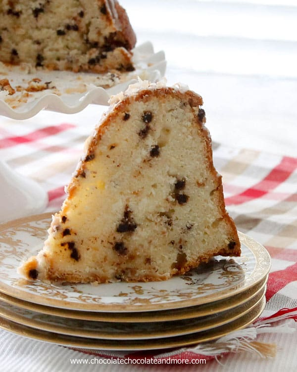 Chocolate Chip Coconut Bundt Cake-Bursting with mini chocolate chips, combined with sweet flaked coconut then topped with a simple glaze and toasted coconut.