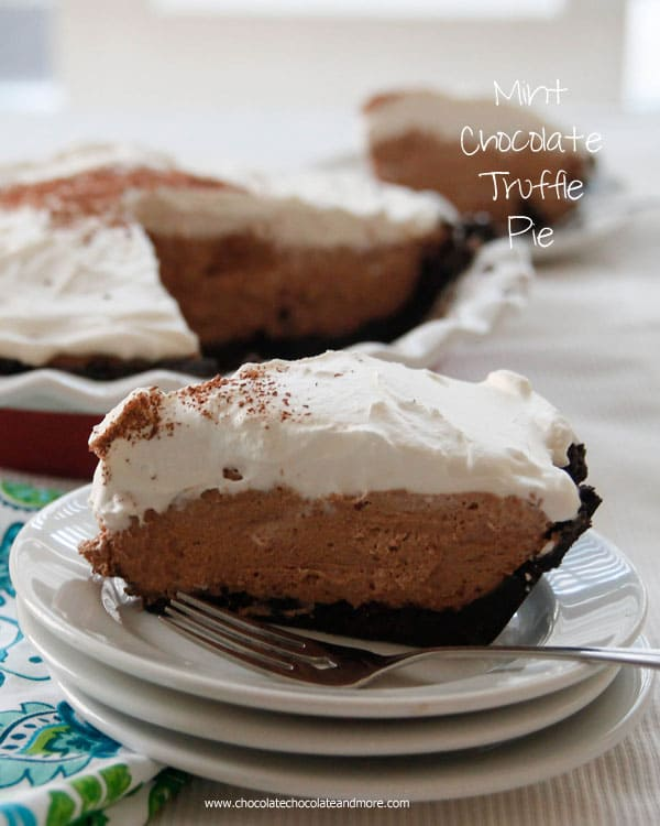 Mint Chocolate Truffle Pie-with an Oreo Crust and topped with fresh whipped cream, this easy no bake pie will satisfy all your mint chocolate cravings.