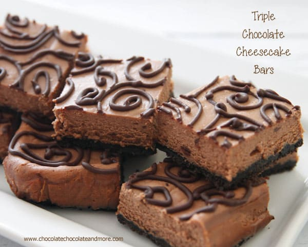Triple Chocolate Cheesecake Bars - Chocolate Chocolate and ...