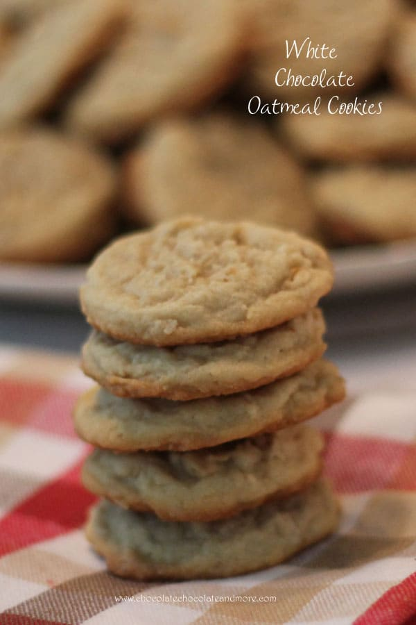 White Chocolate Oatmeal Cookies-the addition of melted white chocolate in the batter of this cookie dough gives them a delicious vanilla flavor.