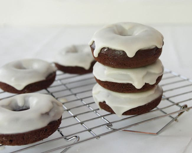 Chocolate Cake Donuts with easy Vanilla Glaze