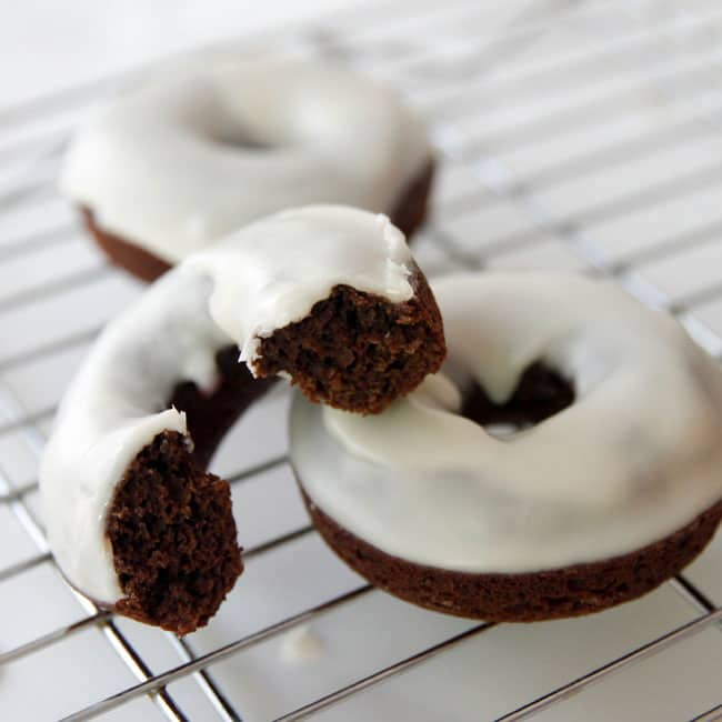 Chocolate Cake Donuts with a vanilla glaze