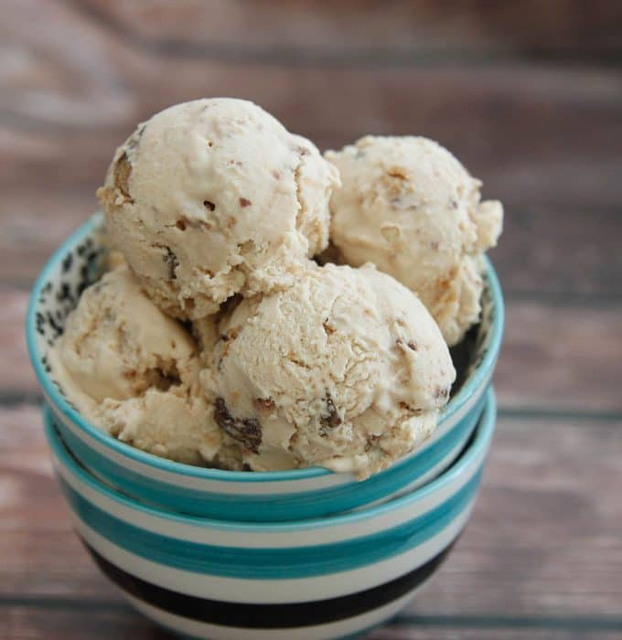 Peanut Butter Cup Ice Cream-creamy peanut butter ice cream with chopped peanut butter cups. Eat immediately as a soft serve or freeze for a harder, scoopable ice cream.