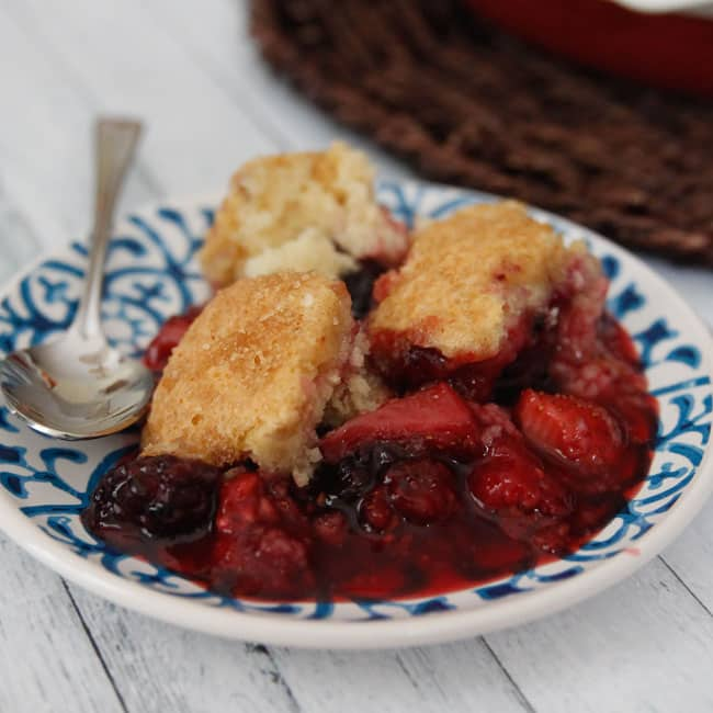 Summer Berry Cobbler-full of strawberries, blackberries and raspberries, this cobbler is the perfect summer treat!