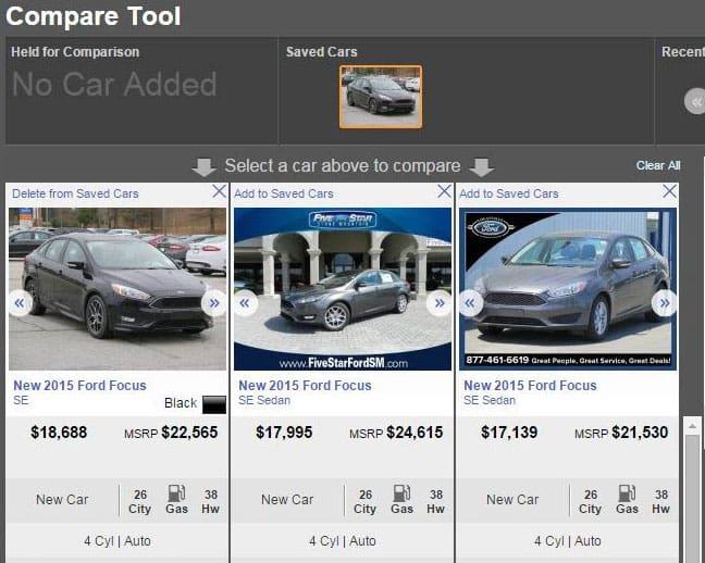 Autotrader Compare Tool-feel drivetastic