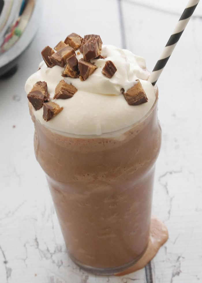 Chocolate Peanut Butter Milkshake-tastes like drinking a frozen peanut butter cup!
