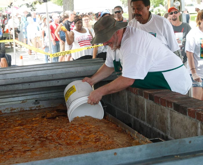 Serving the Worlds Largest Peach Cobbler