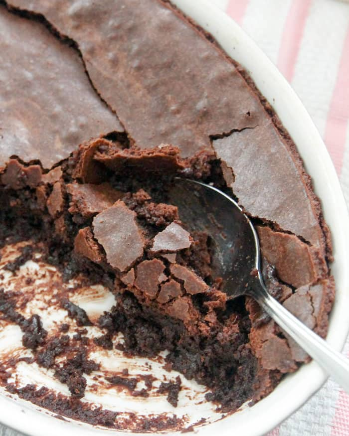Chocolate Brownie Pudding-a crisp brownie crust on top with a gooey pudding on the bottom! Top with a scoop of vanilla ice cream or fresh whipped cream.