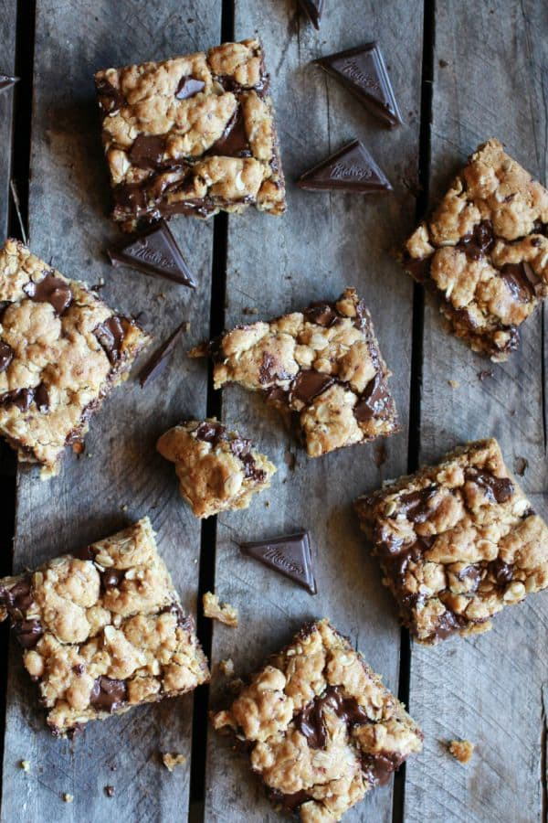 Healthy Dark Chocolate Chunk Oatmeal Cookie Bars by halfbakedharvest.com