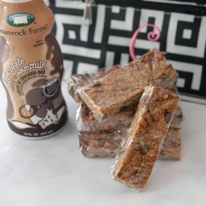 Peanut Butter Chocolate Chip Granola Bars and Shamrock Farms Chocolate Milk