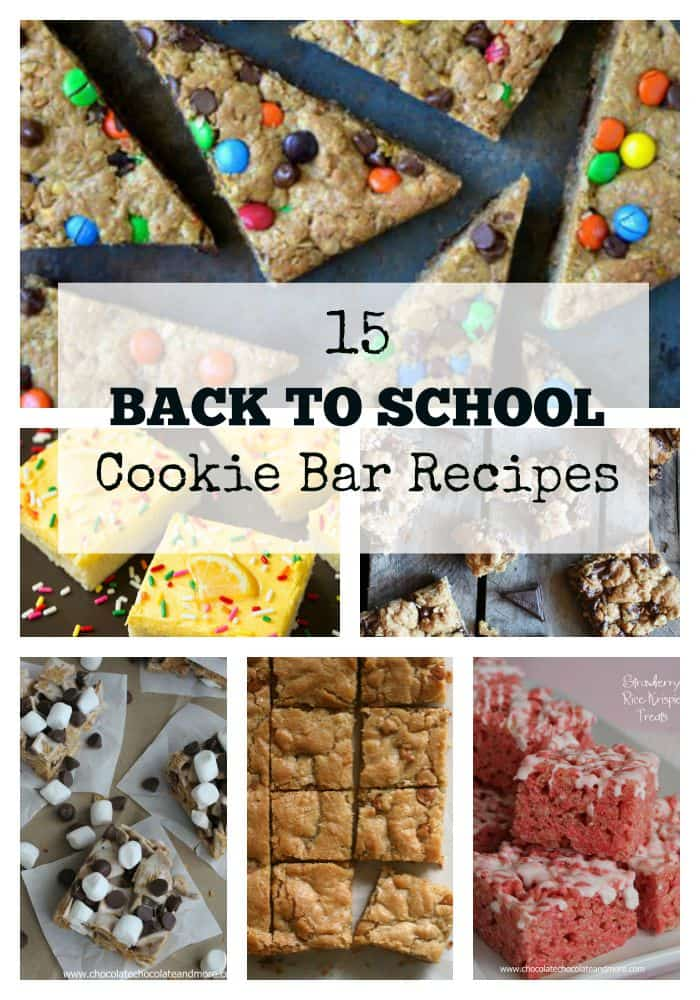 15 Back to School Cookie Bars-perfect for packing in a lunch or as an after-school treat!