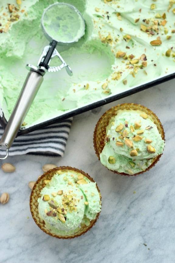 No Churn Green Pistachio Ice Cream by thesweetescape.ca