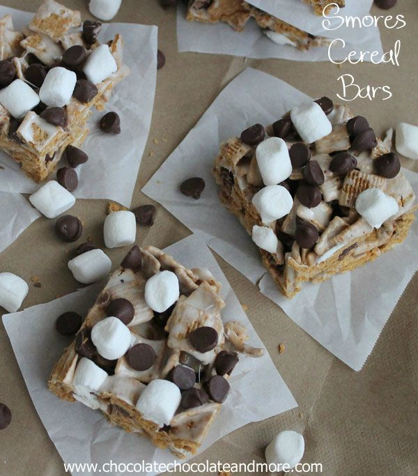 Smores Cereal Bars by chocolatechocolateandmore.com