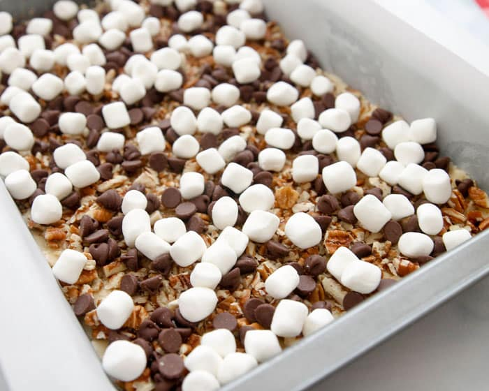 Mud Hen Bars-delicious layers of pecans, chocolate chips and marshmallows