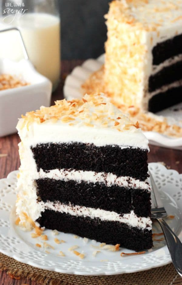 Chocolate Coconut Cake by lifeloveandsugar.com