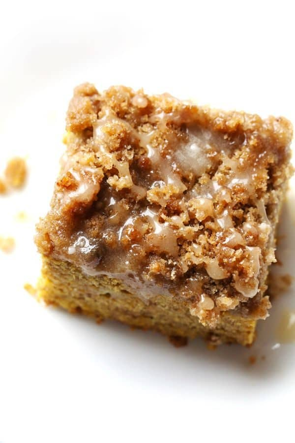 Cinnamon Streusel Pumpkin Coffee Cake with Maple Glaze by pinchofyum.com